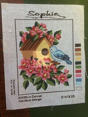 """Sophie Tapestry Canvas Only!! 'A little blue bird outside a bird house"""""""