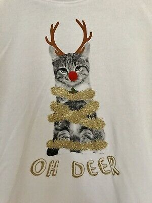 Off white Christmas Sweatshirt Suit Ages 12-14. Cute Cat Design