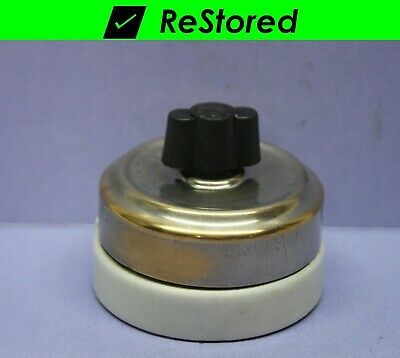 ⭐ Vintage Rotary Switch, Double-Pole, DPST Chrome/Porcelain Twist Turn 10A - GE