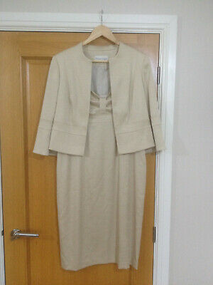 Ladies wedding outfit size 14 in Oyster, + matching shoes, bag & Hat