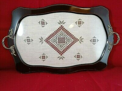 VINTAGE MAHOGANY SERVING TRAY with LEFKARA EMBROIDERED LACE UNDER GLASS