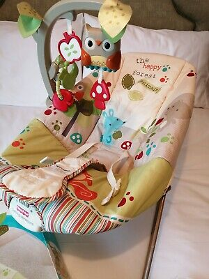 Fisher-Price Woodsy Friends Comfy Time Bouncer Chair, Vibration, Good Condition