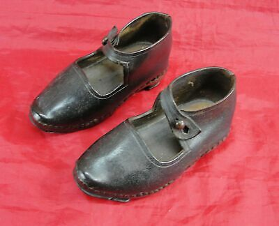 Antique Victorian English Child Or Doll Clogs Leather & Wood Redferns Soles