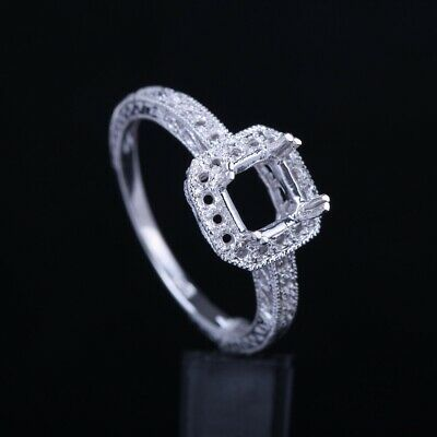 Milgrain Solid 925 Silver Plated White Gold Engagement Semi Mount Ring Setting