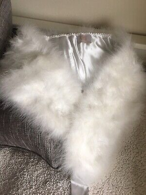 Emmerling White Feather Wedding Cape/Wrap/Stole