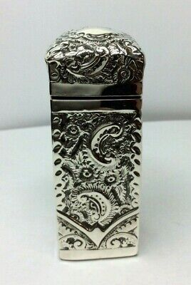 Antique Silver Top Perfume scent bottle Rectangular Victorian 1895
