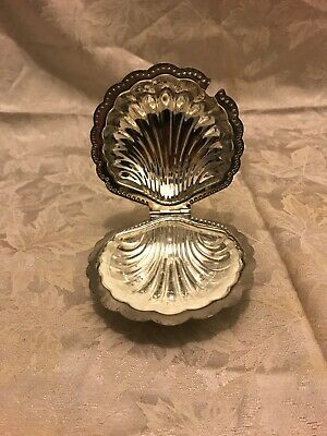 Leonard Silver Plate Clam Shell With Glass Insert Butter Server