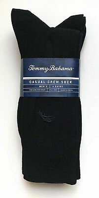 Tommy Bahama Mens Casual Crew Dress Socks 4 Pairs Pack Black New