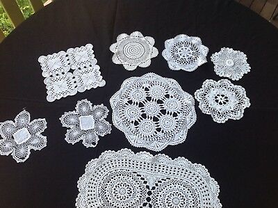 Hand Crocheted Doileys - 9 Different Styles. All Exquisitely Made - White