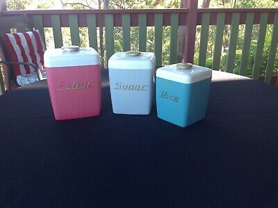Vintage canisters - set of 3 - flour, sugar and rice - retro cool