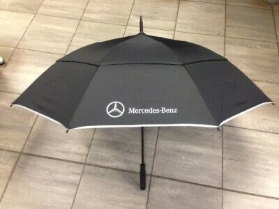 BNWT Genuine Mercedes Benz Black & Silver Double Canopy Umbrella Golf Style