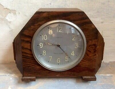 Antique ART DECO Wind Up DIMRA Mantel Clock,8 Days SWISS Movement,Working,Oak