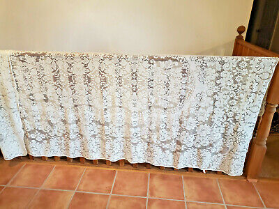 "Vintage 60"" x 104"" Cream Ivory Lace Tablecloth Made In U.S.A."