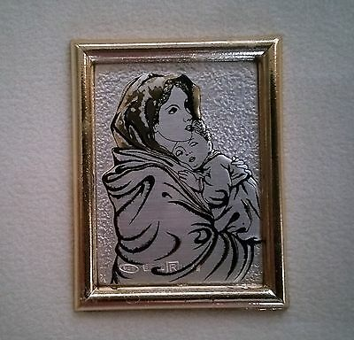 Mother and Child ~ Madonna ~925 Silver Hand Made Portrait Framed