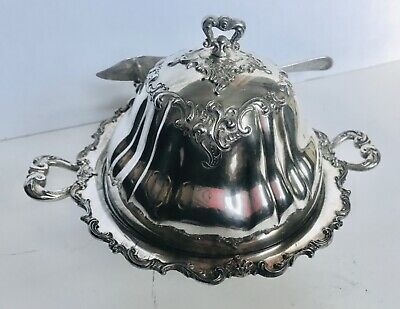 ANTIQUE SILVER BUTTER DISH 4-PC ORNATE LID/ICE WELL/TRAY/GLASS PLATE Middletown