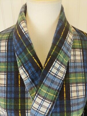 Vintage Sears Perma Prest Mens Medium Navy Blue Green Plaid Flannel Belted Robe