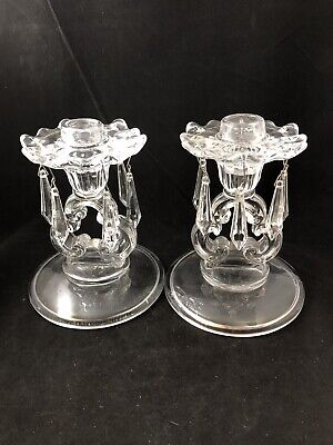 Pair Of Keyhole Candelabras Candle Holders CandleSticks with Bobeches & Prisms