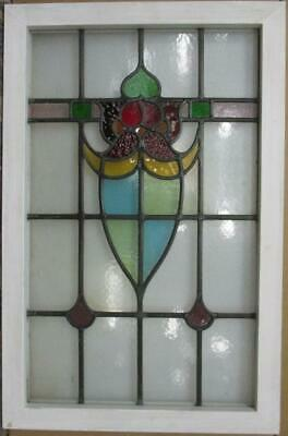 "LARGE OLD ENGLISH LEADED STAINED GLASS WINDOW Colorful Abstract 21.5"" x 33"""