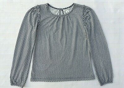 Country Road Girls Sz 5, Cream Navy Print Long Sleeve Top, New Without Tags.