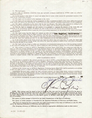 """Jay """"Tonto"""" Silverheels - Contract Signed 04/01/1966"""