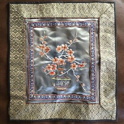 Vintage Hand Embroidered Blossom Chinese Silk Dun Huang Panel