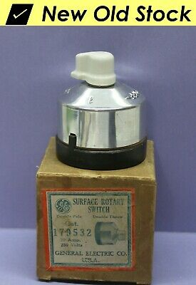 Vintage Rotary Switch w/ Porcelain Knob, Double-Pole Double-Throw, DPDT, GE RARE