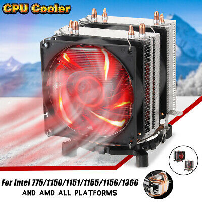 4 Pin CPU Heat Sink Cooler Fan Red LED For Intel