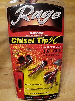 "GENUINE! Rage Slipcam Chisel Tip  3 Blade 100 Grain Broadheads 1.6"" Cut 3 Pack"