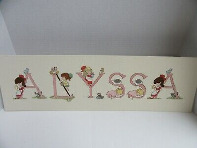 Finished Cross Stitch Precious Moments Personalized Alyssa Completed 7.5x25.5