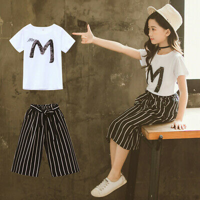Teen Kids Girls Letter Sequin T-shirt Short Sleeve Tops+Stripe Pants Outfits Set