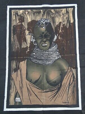 Powerful African Screen Print Signed by the Artist Africa late 20thC