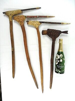 4 Papua New Guinea Pig Killing Sticks as collected PNG c1960s - bigpelican
