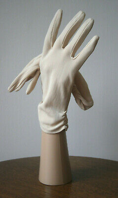 VINTAGE 1960s CREAM WRIST LENGTH RUCHED NYLON GLOVES WEDDING SIZE 7