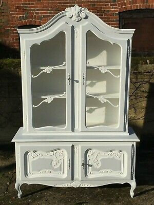 Vintage French Painted Pine Glass Linen Cupboard Armoire Cabinet