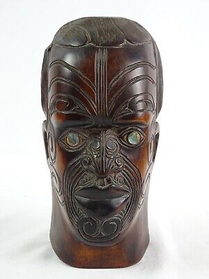 RARE Large Vintage Hand Carved Maori New Zealand Warrior Bust Signed to Back NZ