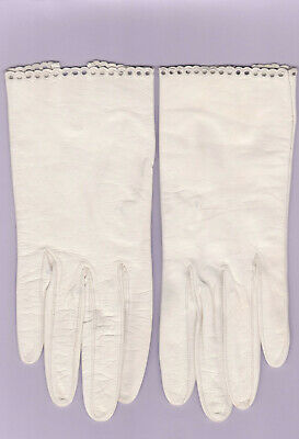 Vintage Ladies White French Leather Gloves Excellent Condition