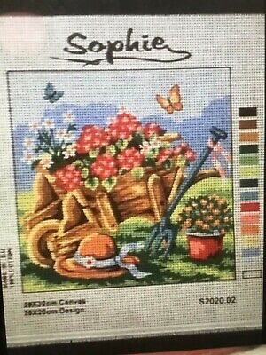 Sophie Tapestry Canvas ONLY!! - Garden Wheelbarrow with flowers
