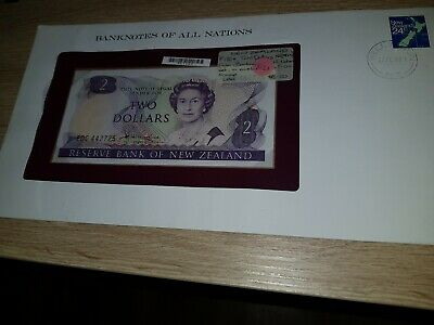 P 170a Hardie $2 UNCIRCULATED Banknotes All Nations New Zealand FDC