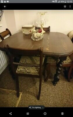 Antique Oak Wind Out Extending Dining Table with Wood handle Crank and 6 Chairs