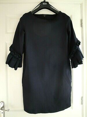 Cos Dress Tunic Navy Blue Size Small 12 - 14 Ladies Girls Frill Sleeves Designer