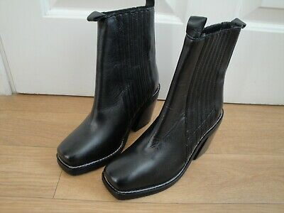 Topshop Boots Ankle Bnwt Ladies Girls Size 3 Eu 36 Rp £89 Black Leather