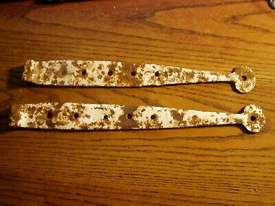 """Pair of Antique Hand Forged Barn Door Strap Hinges 11 3/8"""" and 12 1/4"""""""