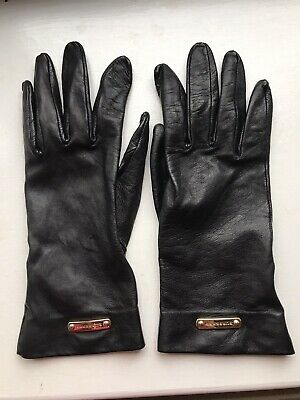 Ladies Burberry Leather Gloves Black Size 7