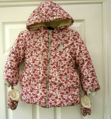 TU NUTMEG Girls Age 5 - 6 Years Pink Floral Fleece Lined Puffa Coat with Mittens