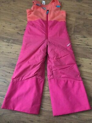 GIRLS PINK SALOPETTES WITH FLEECE LINED BODY - SKI TROUSERS age 3 - 4 years VGC