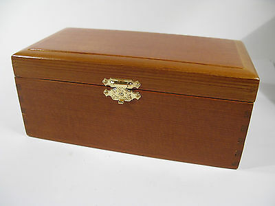 Antique Early 1900s Wooden Trinket Box with Solid Brass Hardware & Velvet Lining