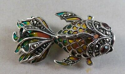Pretty Solid Silver Marcasite, Enamel And Red Stone Fish Brooch / Pin / Pendant