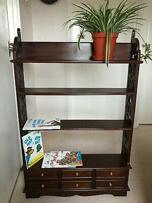 Vintage Mahogany Bookcase Fretwork Several Book Shelves With Six Drawers in VGC