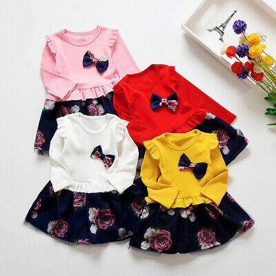 Kids Dress Girls Children Party Autumn Ruffles Casual Fashion Toddlers