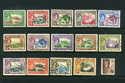 DOMINICA 1938-47  Set of 15  SG99-109a  VFU